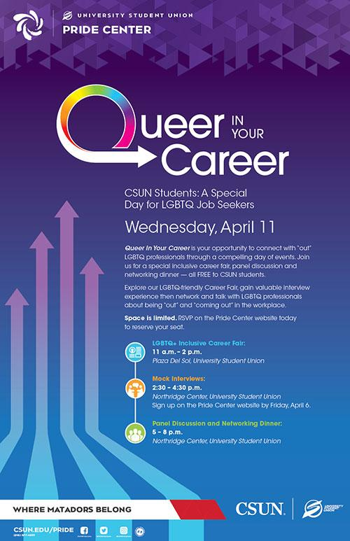 purple background poster for a career night for queer people