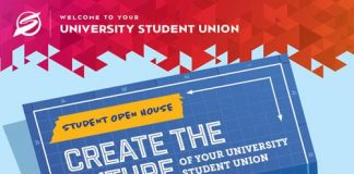 blue background poster promoting an open house at the USU