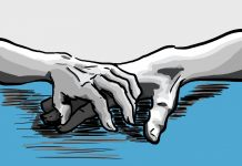 grey hands touching over blue ground