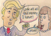 political cartoon with beige background and donald trump speaking to a woman