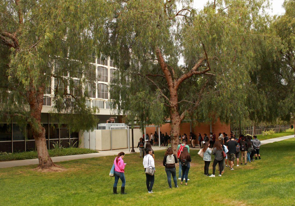students wait in line