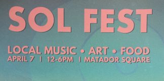 blue and light red poster for Sol Fest