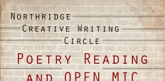 beige stone background with red lettering reading Poetry Reading and Open Mic