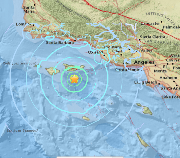 map with seismic graph with a yellow star in the middle
