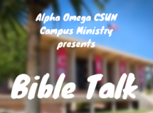 white large lettering promoting a bible talk on campus