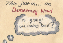 drawing in grey white and red questioning if global warming is bad