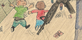a black gun pointing towards the floor with small children running away