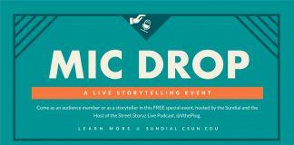 blue mic drop poster