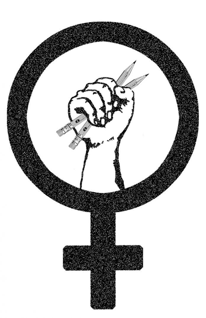 black female sex symbol with fist inside holding pencils
