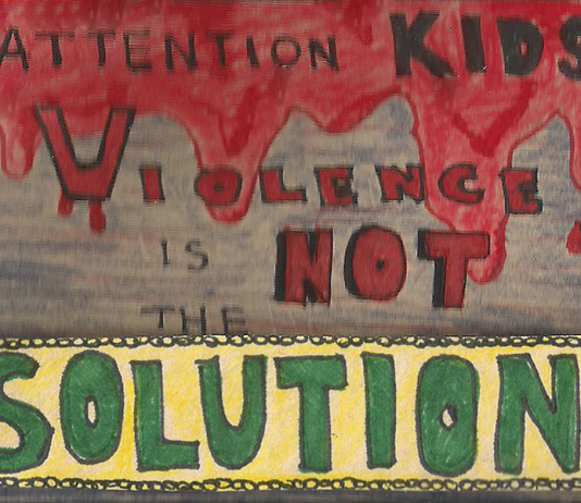 red and green writing on a political cartoon