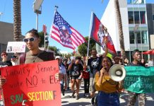 protesters hold signs and flags as they march