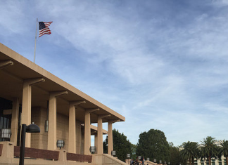 oviatt library with many people on the steps