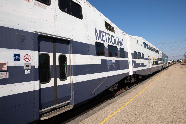 A Metrolink train departs the Northridge station Friday afternoon. Photo credit: Max Sullivan