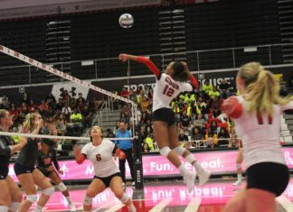 volleyball player spiking ball