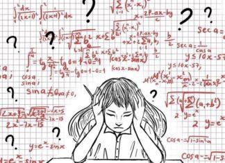 cartoon drawing of girl doing homework