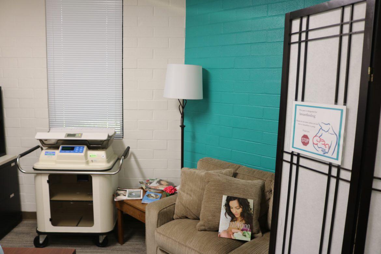 room with sofa and printer