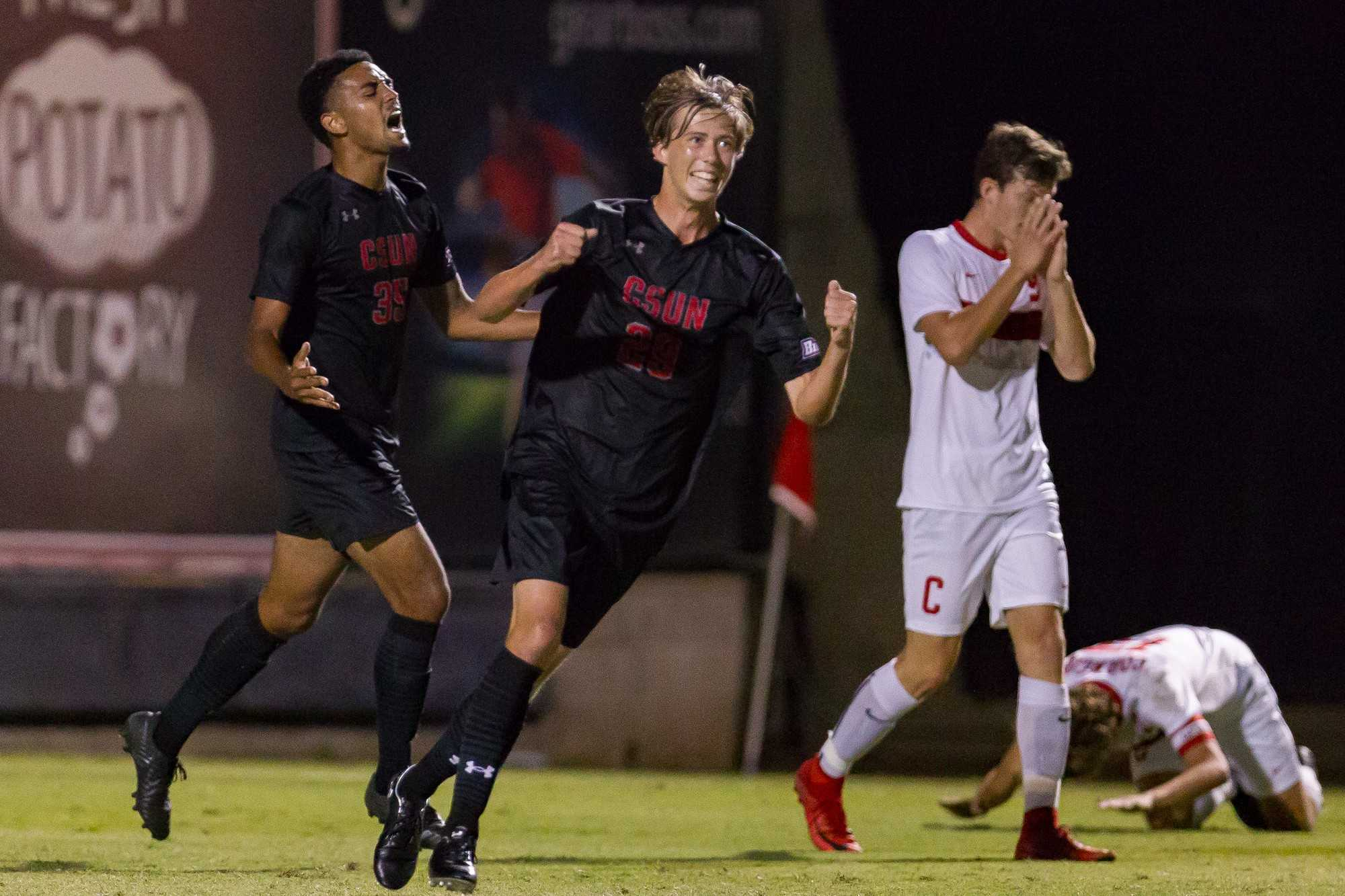 CSUN's Wolfgang Prentice celebrates after scoring the opening goal against Cornell. Photo credit: Shae Hammond