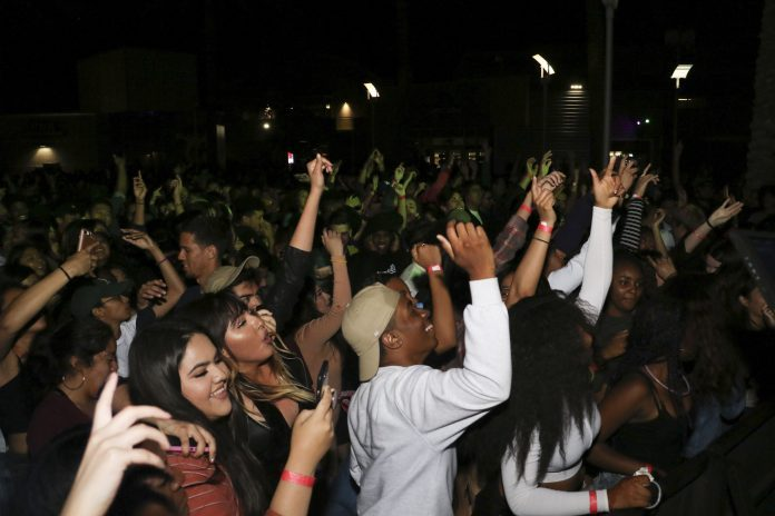 crowd of students at concert