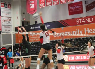 girl spiking volleyball