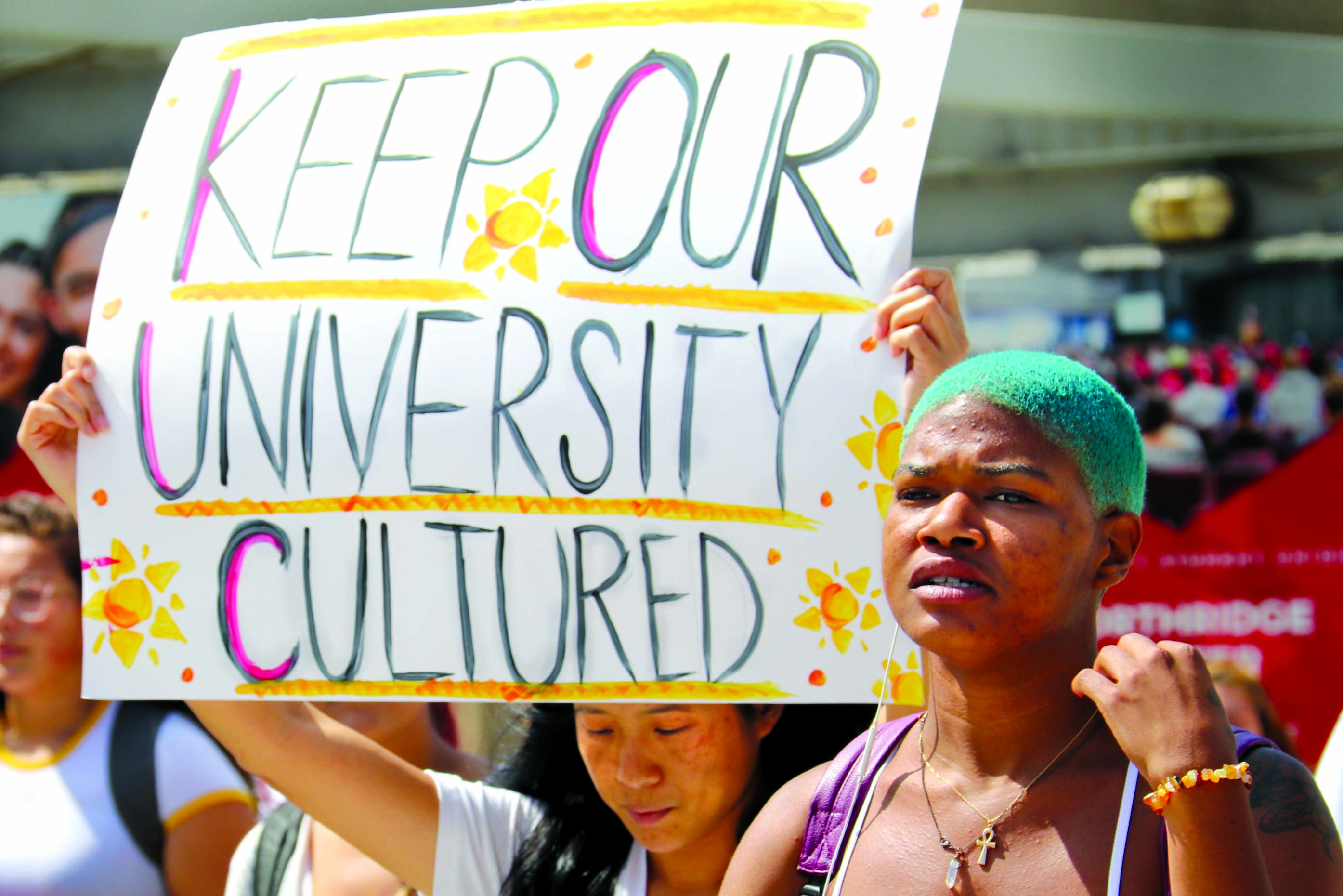 Students protested about EO 1100 on Wednesday. Photo credit: Marja Ziemer