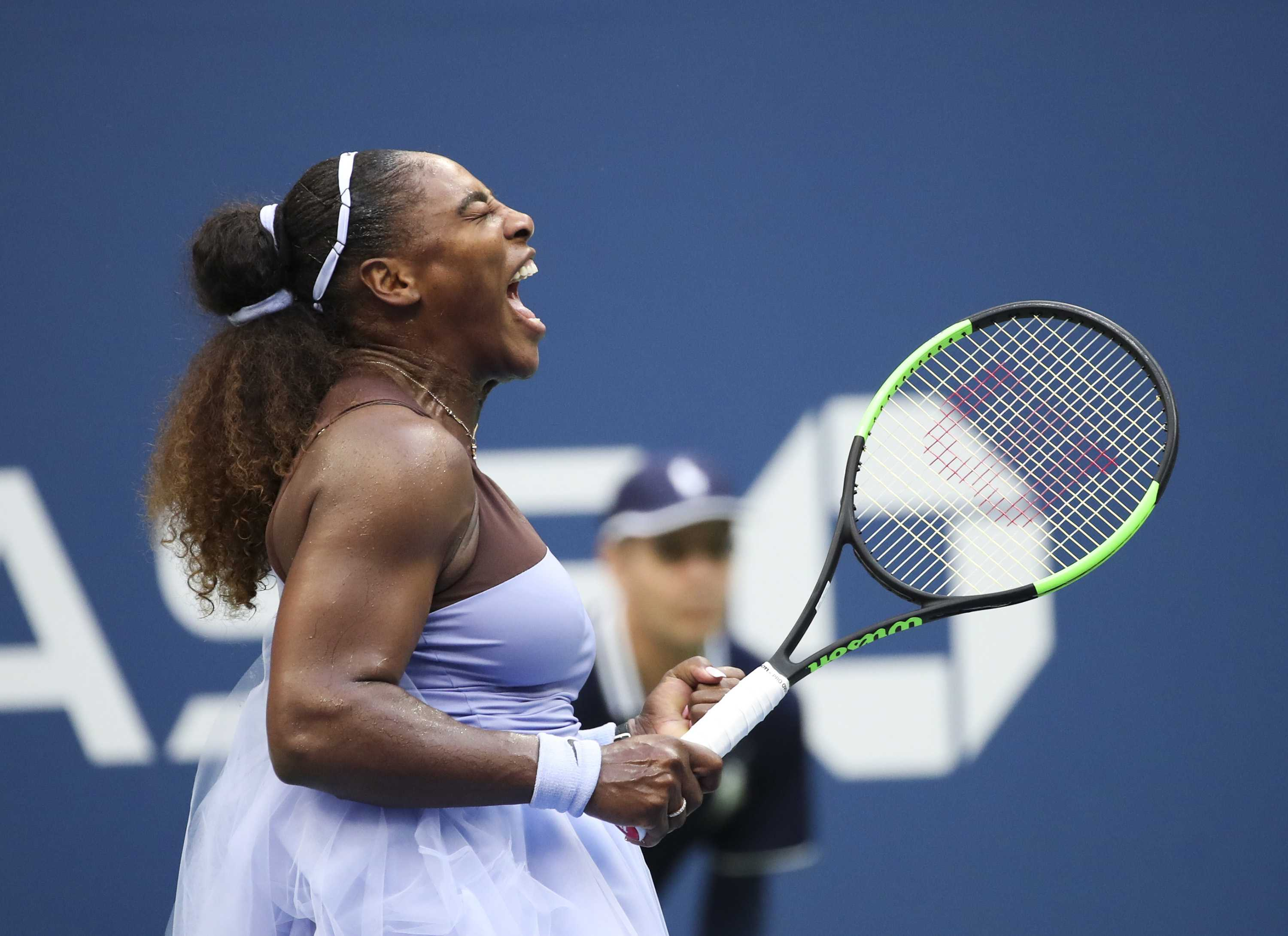 Serena Williams celebrates during her women's singles fourth round victory against K. Kanepi at the 2018 U.S. Open on Sunday, Sept. 2, in Flushing Meadows, N.Y. Williams won 2-1. (Xinhua/Zuma Press/TNS)