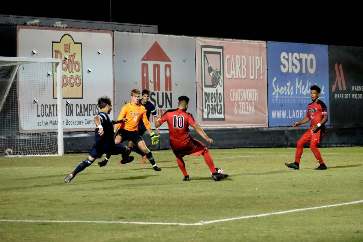 Forward Michael Flores lines up for a shot on goal. Photo credit: Jose Morales