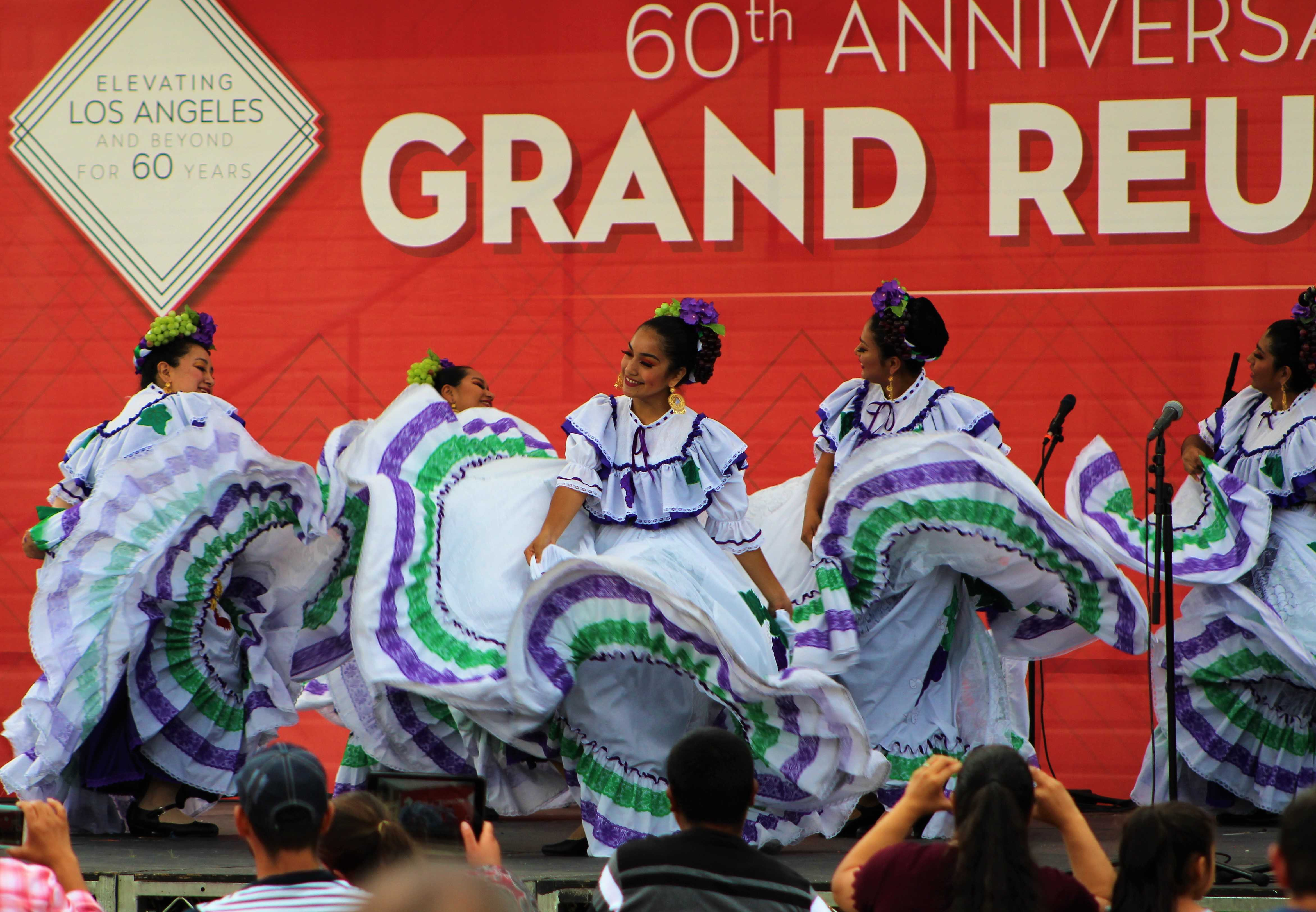 Ballet Folklórico Aztlán de CSUN, chartered in 1970, performs on stage at the Oviatt Lawn on Oct. 13. Photo credit: Justin Lee