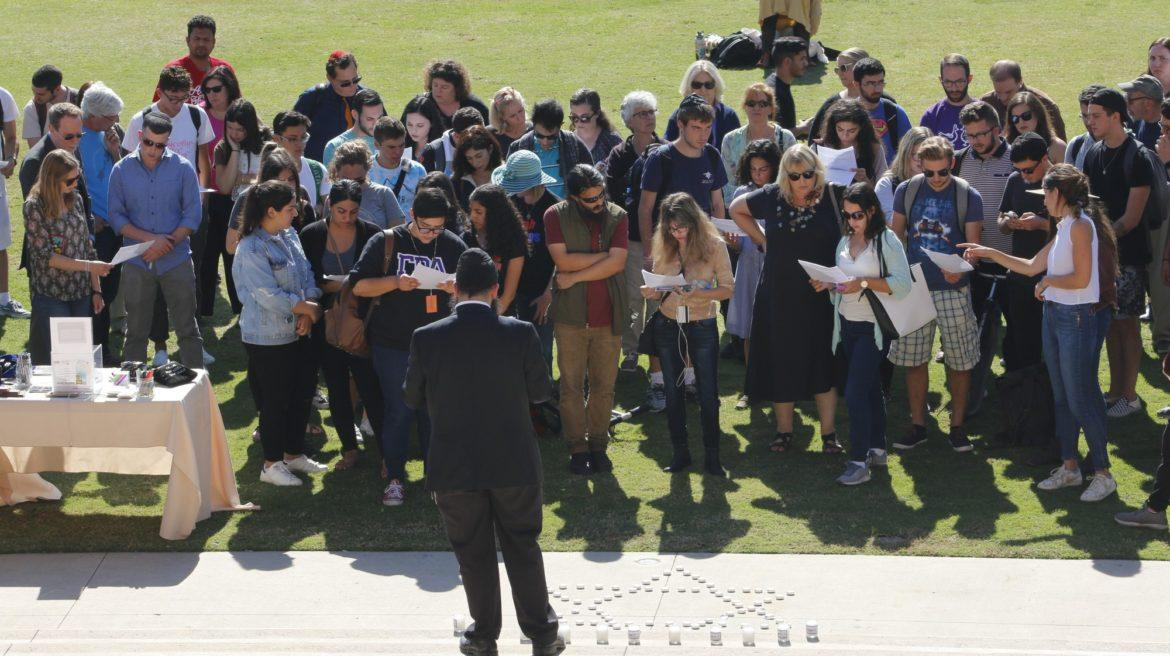 students on oviatt lawn