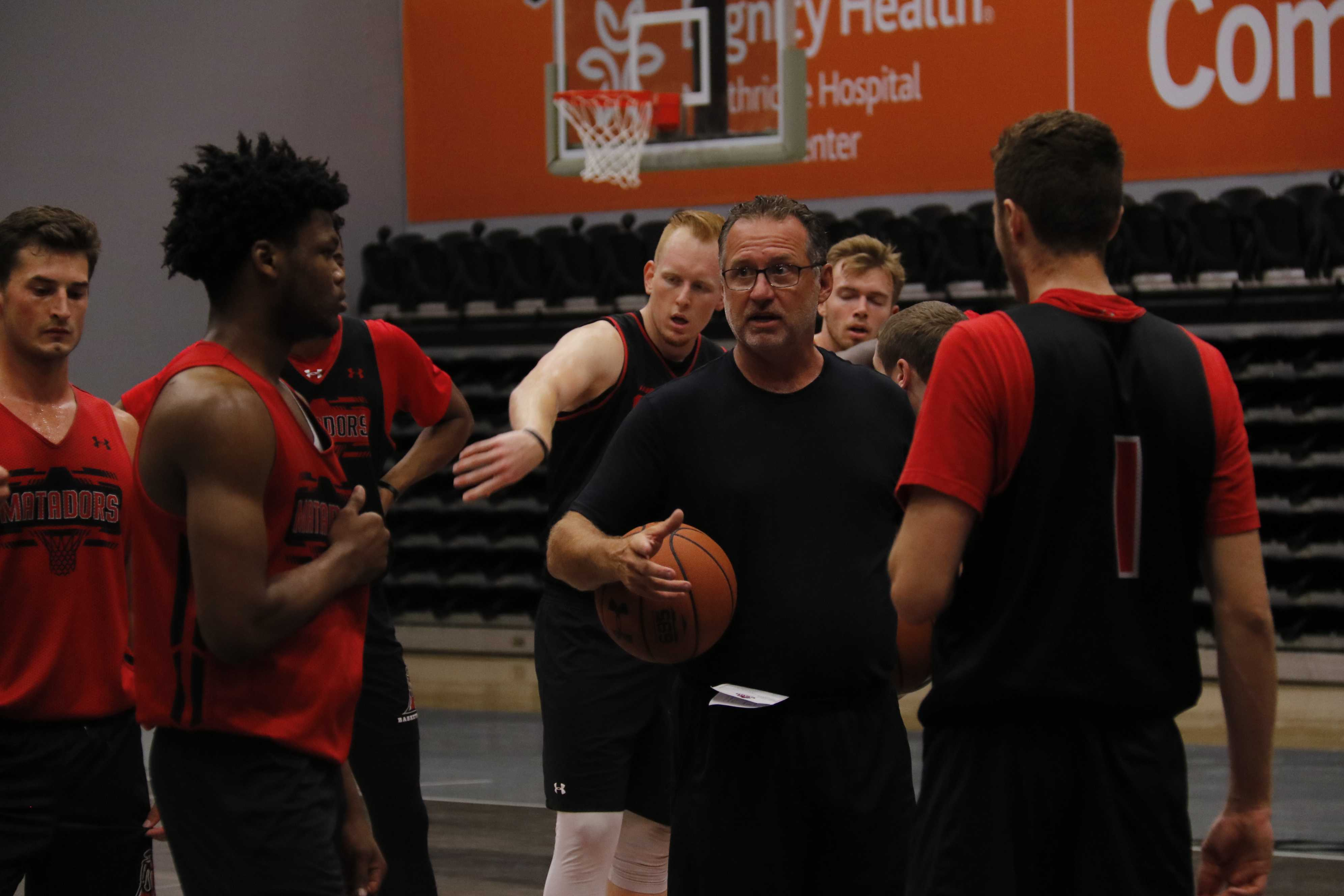basketball coach with players