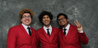 three guys in red jackets