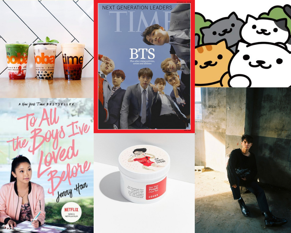 From celebrities to boba, skincare to virtual cats, Asian pop culture is not only welcomed but incorporated into Western culture. Photos courtesy of the  TIME magazine, International BNT News, Amazon, Discover DTLA, Barnes and Noble, Urban Outfitters