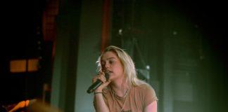 blonde singer at concert