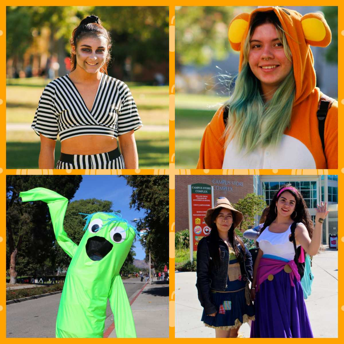 A collage of costumed students featured below. Photo Credits: Max Sullivan and Yomira Saiqui.