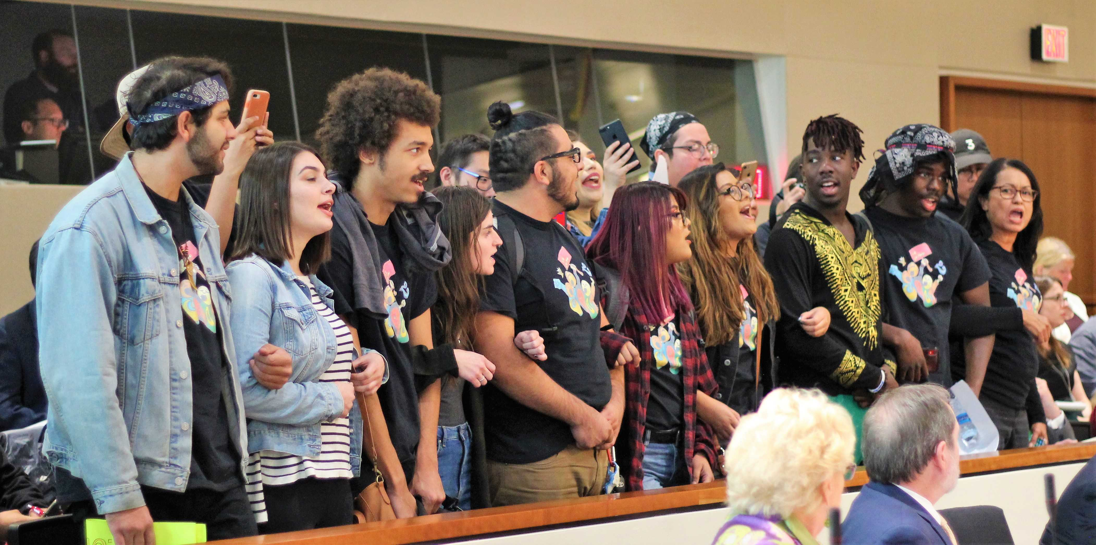 CSUN students protest and chant,