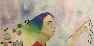 rainbow hair drawing