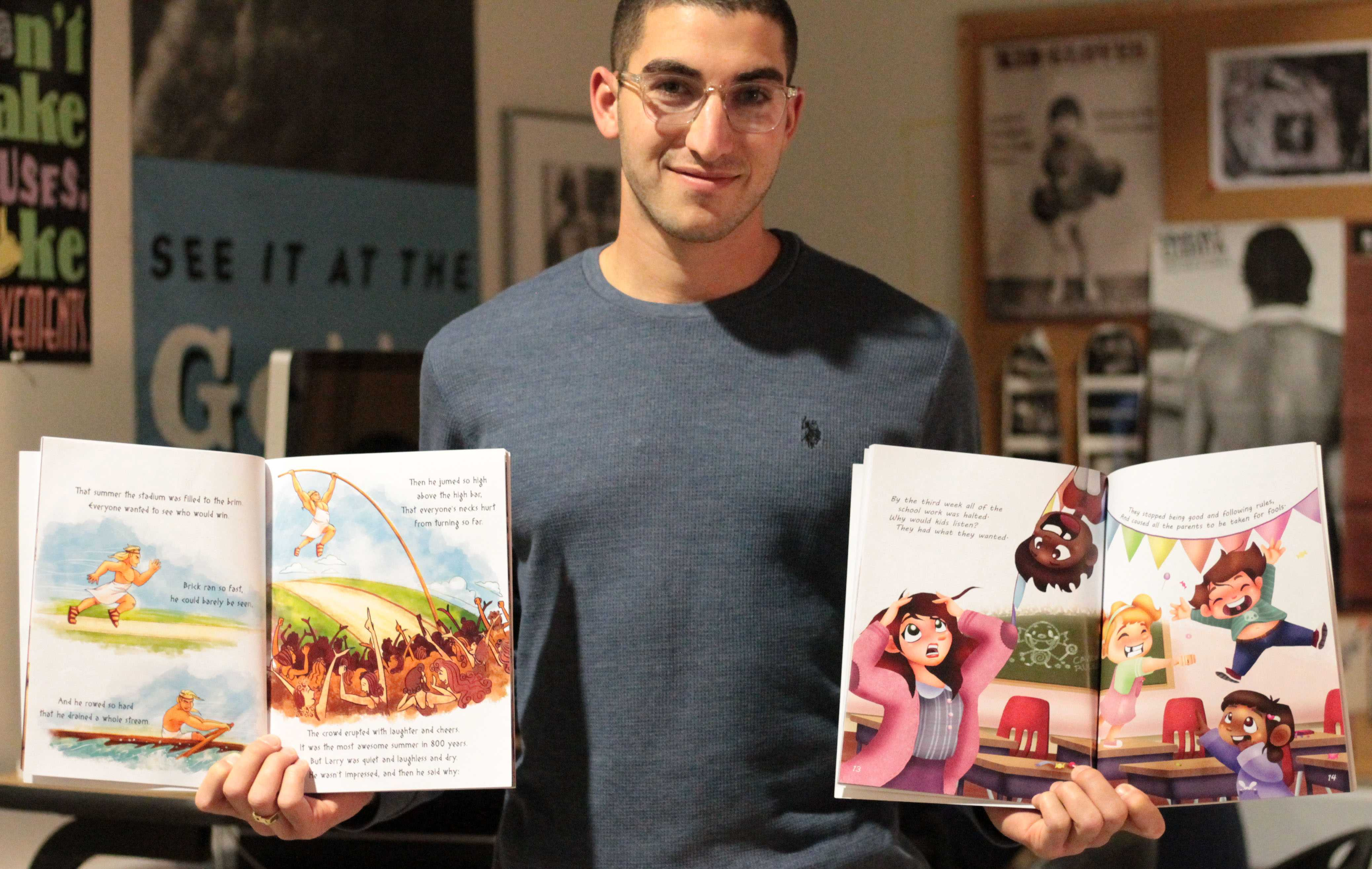 Jesse Orenshein, author and CSUN alumnus, showing his first two books