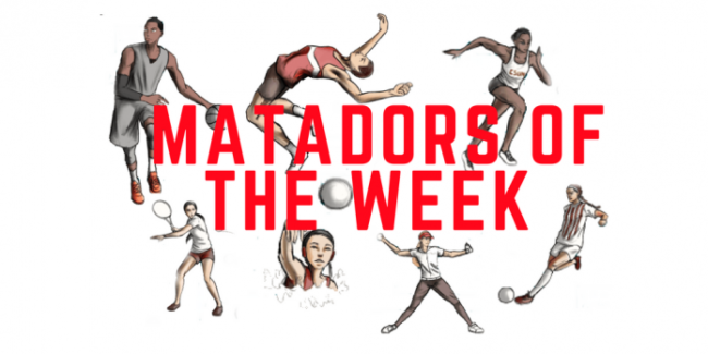 Different types of sprots figures and Matadors of the week in red color