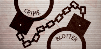 A calendar advertisement of crime blotter