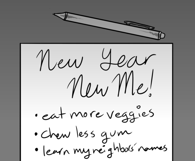 A calendar advertisement called new year new me, and three bullet points on the list.