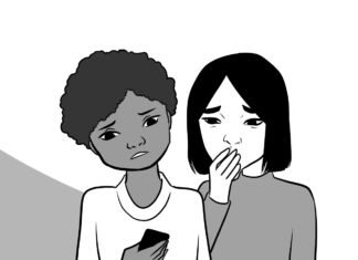 Aanimated drawing of two girls with worried faces looking a electrial device.