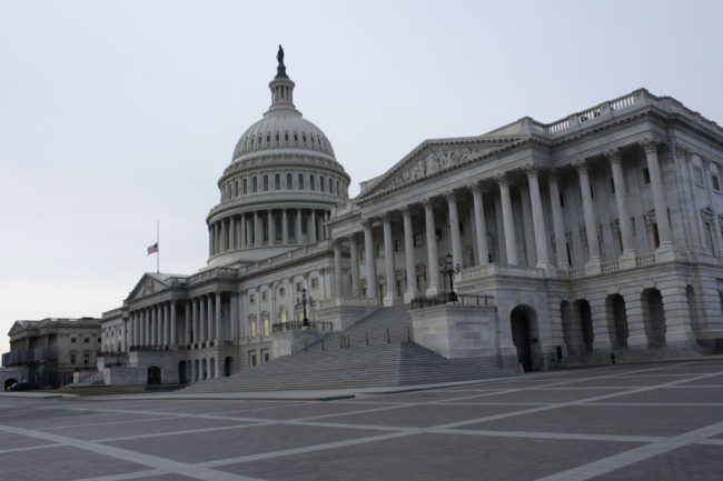 A picture of the United States Capitol Building taken early in the morning