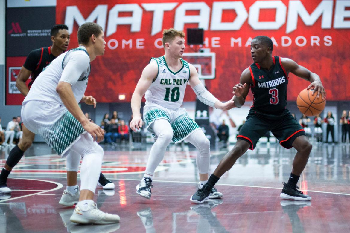 A CSUN Men's basketball player handling the ball.