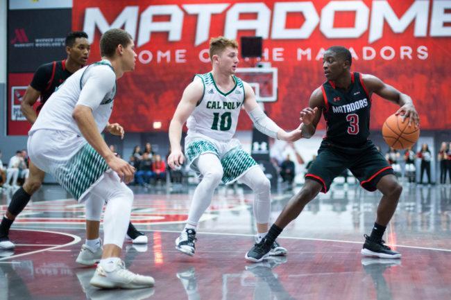 A CSUN Men's basketball player handling the ball.