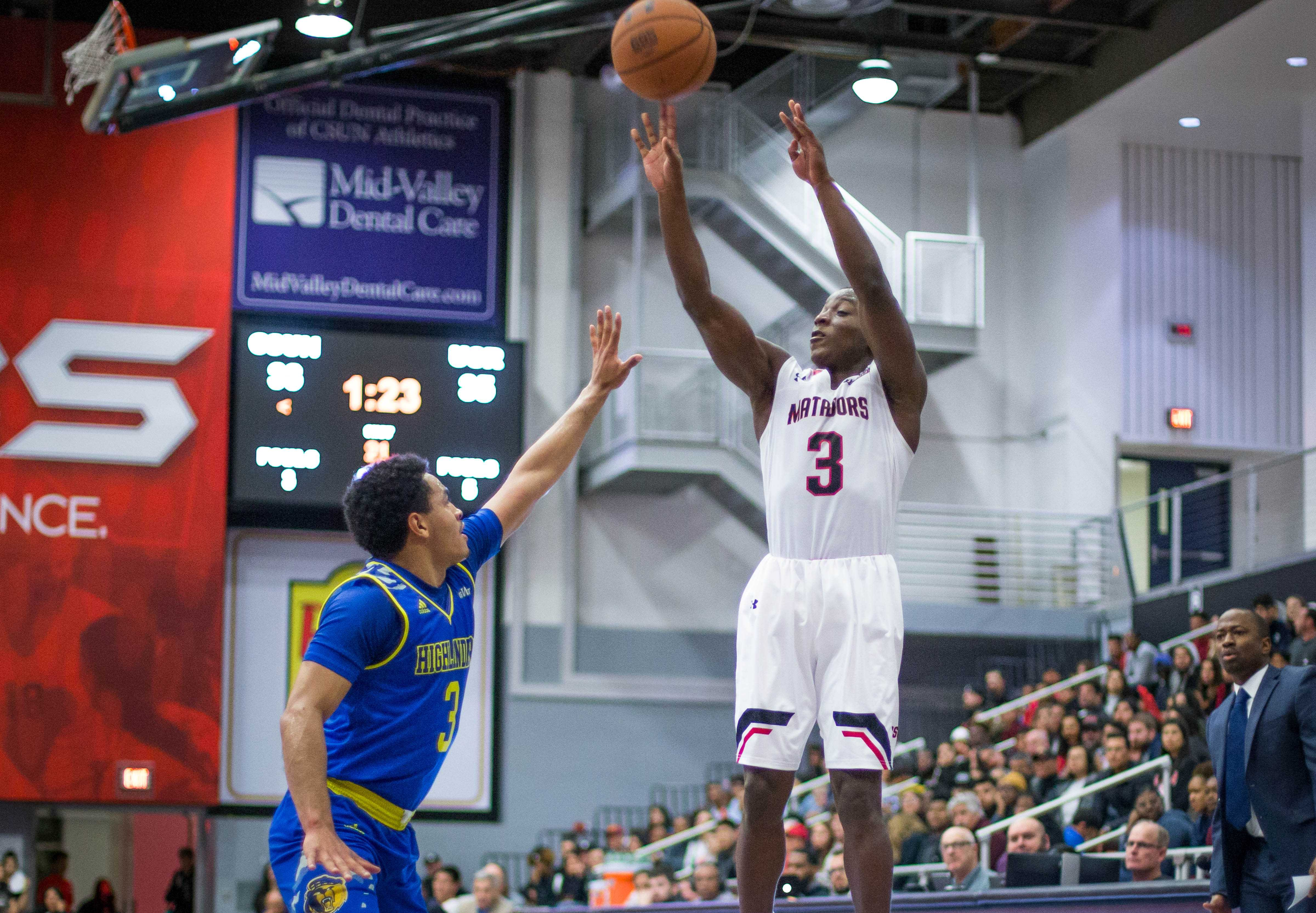 A CSUN Men's Basketball player making jumpshot