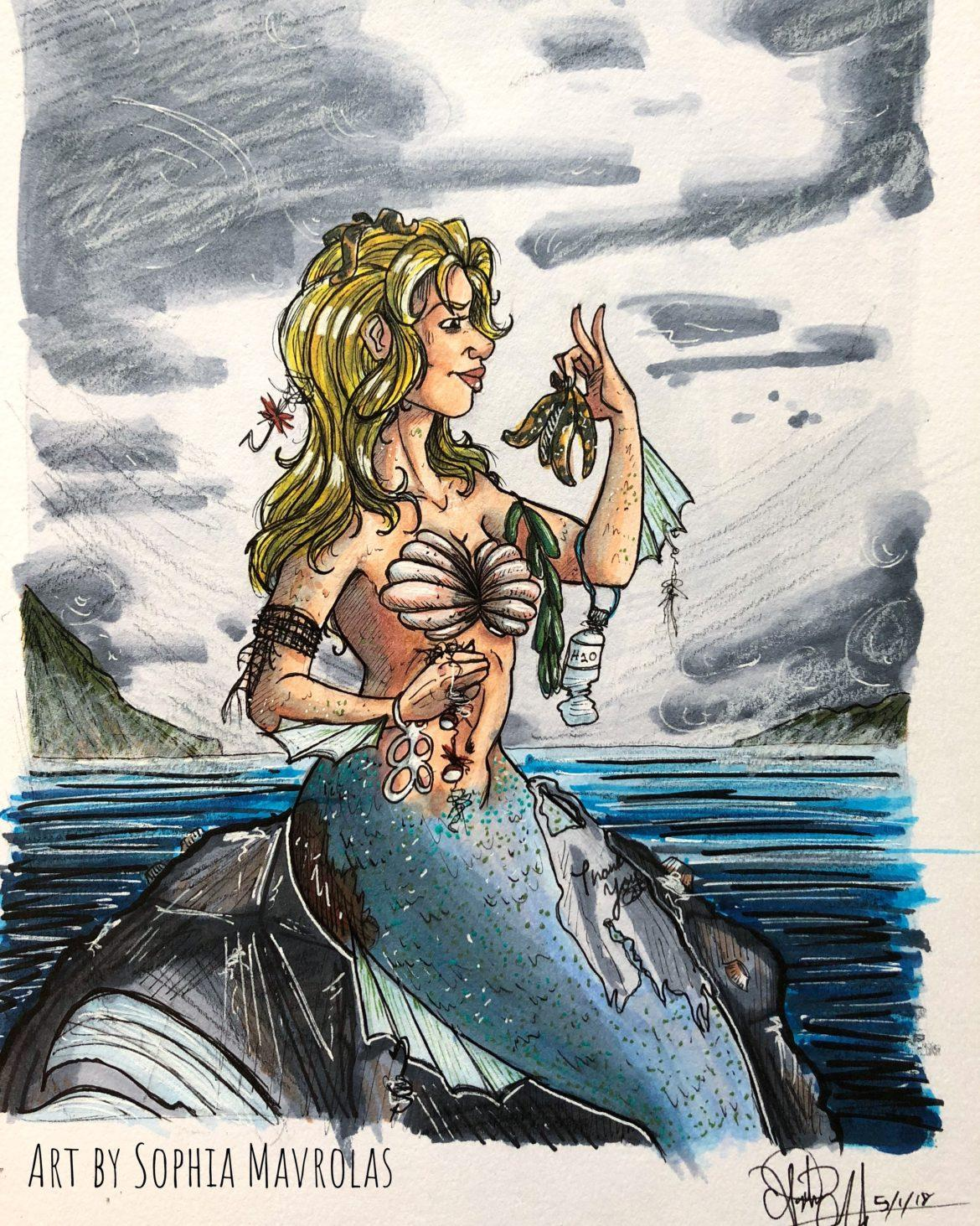 A artwork drawn as mermaid