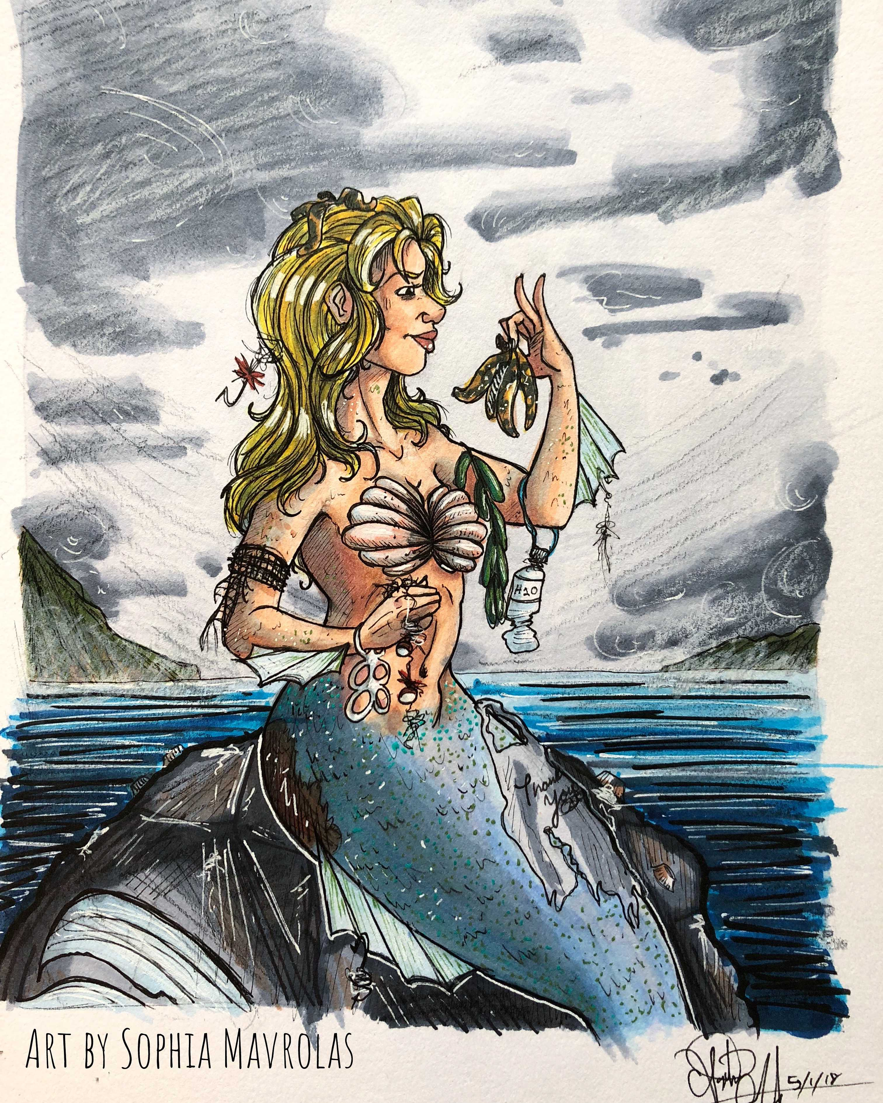 Part of Save the Mermaid Series illustrated by CSUN artist Sophia Mavrolas.