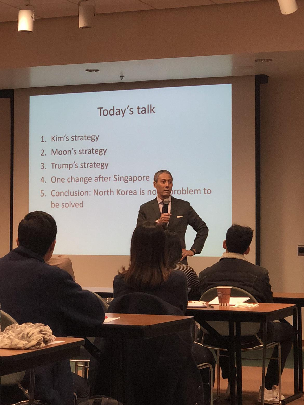Dr. David Kang discusses North Korea-US-South Korea diplomacy in the Ferman Presentation Room inside the Oviatt Library on Feb. 7. Kang also spoke about why it is unlikely that the US will go to war with North Korea.