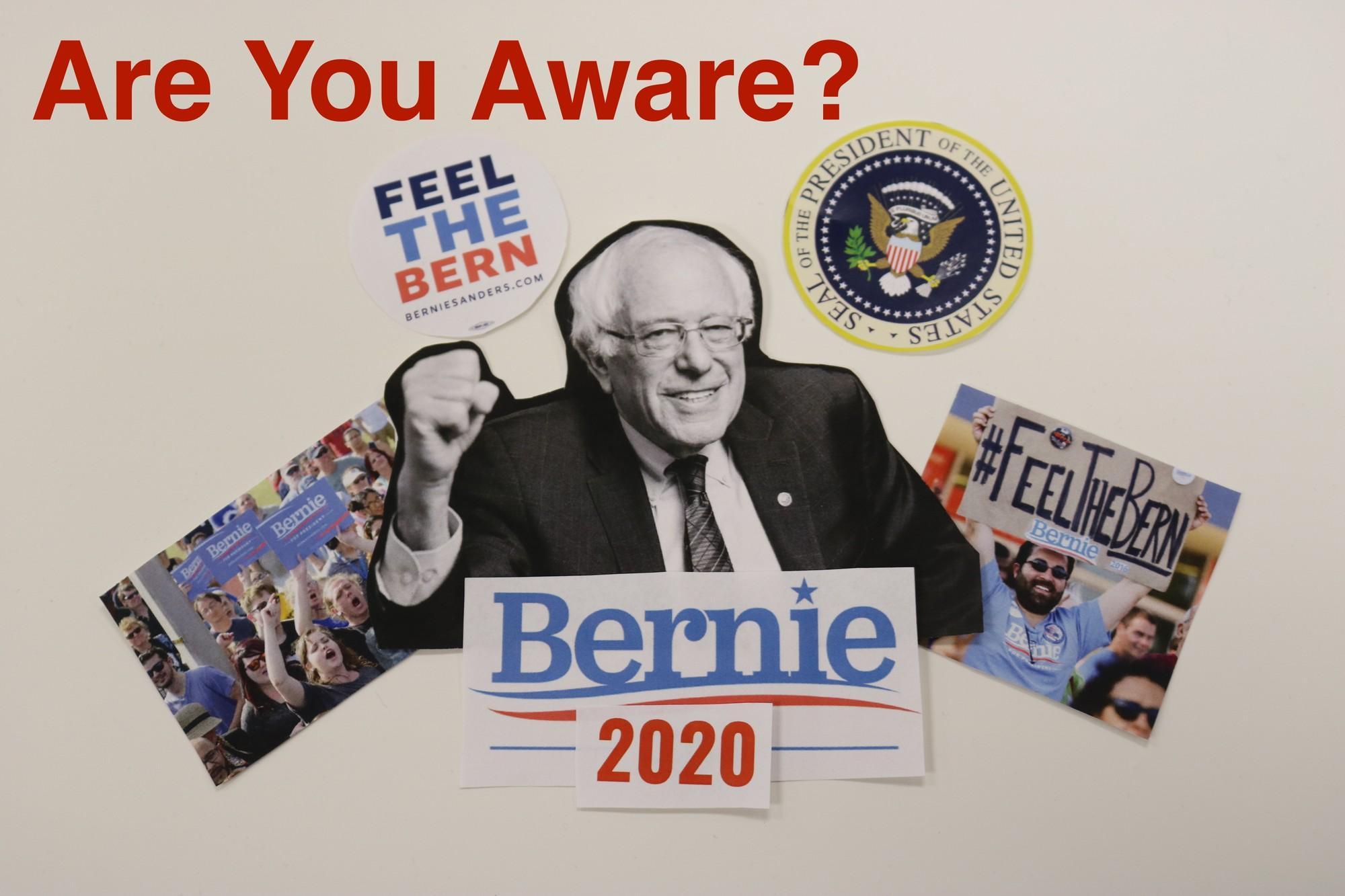 A poster of Bernie Sanders