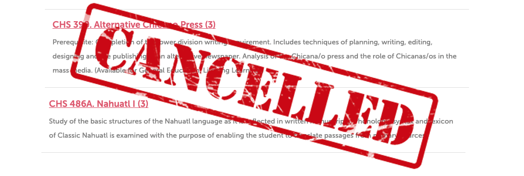 A cancelled class notice