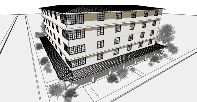 A graphic illustration of a white 5-story building